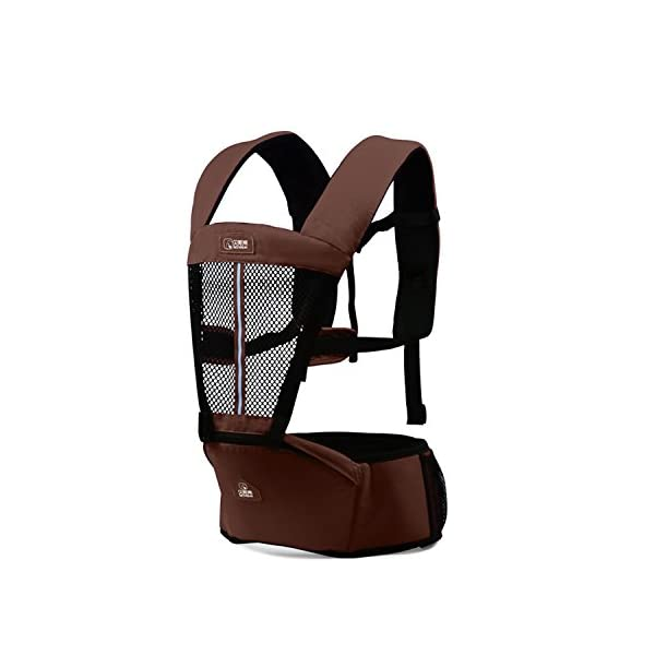 SONARIN Multifunctional Breathable Hipseat Baby Carrier,Front and Back,Breathable mesh Backing,Ergonomic,One Size Fits All,6 Carrying Positions,100% Infinity Guarantee,Ideal Gift(Brown) SONARIN Applicable age and Weight:0-36 months of baby, the maximum load: 20KG, and adjustable the waist size can be up to 44.9 inches (about 114cm). Material:designers choose comfortable and cool 100% cotton fabric. External use of 3D breathable mesh material, all-round breathable design, 15mm soft cushion, to the baby comfortable and safe experience. Side with small pockets so that you can put some daily necessities when you go outside. Description: EPP seat core, no deformation, baby sitting more comfortable.patented design of the auxiliary spine micro-C structure and leg opening design, natural M-type sitting. Widen the shoulder strap and belt will be effective to disperse the baby's weight to the shoulder and waist, so that mother more effort. 1