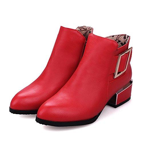 AgooLar Damen Reißverschluss Niedriger Absatz Pu Leder Rein Knöchel Hohe Stiefel Rot