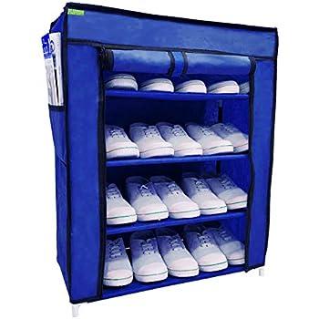 Flipzon Multi-Purpose Shoe Rack with 4 Fabric Shelves Organiser (Blue)