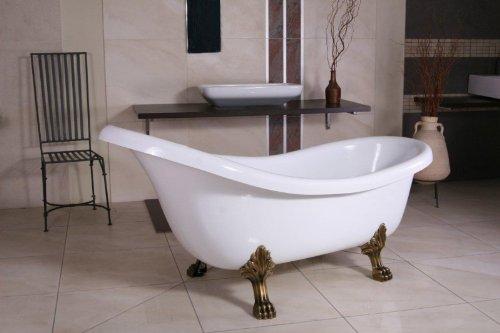 Casa Padrino Freistehende Badewanne Jugendstil Sicilia Weiß/Altgold 1740mm - Barock...
