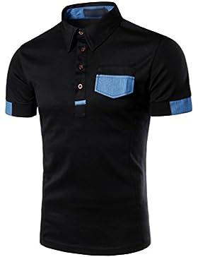 ZhiYuanAN Hombres Clásico Camisa De Polo De Manga Corta Moda Casual T-Shirt Con Bolsillo Comodidad Transpirable...