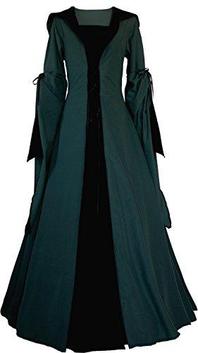 Dornbluth Damen Mittelalterkleid Milienn Ivy (XS, Dunkelgrün-Schwarz)