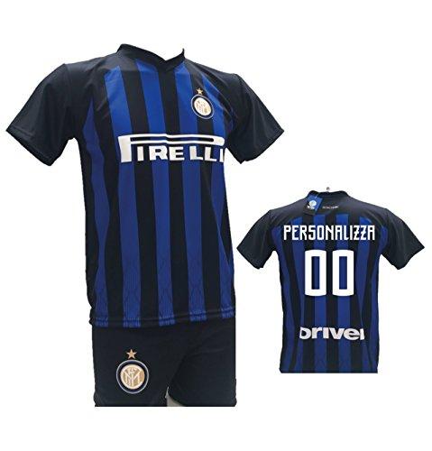 Completo calcio maglia inter personalizzabile + pantaloncino replica autorizzata 2018-2019 bambino (taglie 2 4 6 8 10 12) adulto (s m l xl) (2 anni)