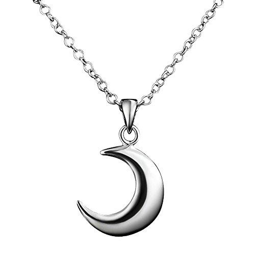 Kangqifen Schmuck Damen Halbmond Anhänger-Halskette,925 Sterling Silber Halskette Kette,Breite 1,0 mm - Länge 45 cm