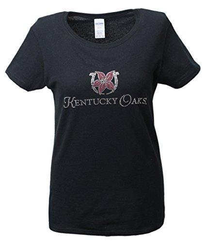 Nitro USA Kentucky Derby Damen-T-Shirt, mit Strasssteinen, Oaks Lilly, Damen, schwarz, XX-Large -