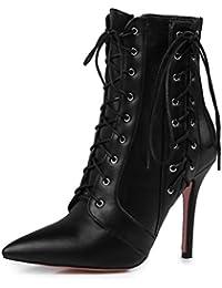 Easemax Damen Schick Spitze Zehe Cross Schnürung Ankle Boots Mit Stilettos Rot 38 EU