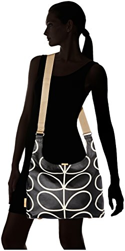 Orla Kiely  Stem Printmidi Sling, Sac à bandoulière femme Noir (Liqourice)
