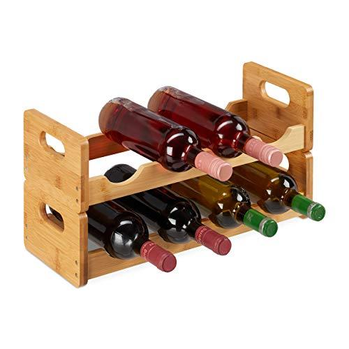Relaxdays 10025949 Weinregal, platzsparende Weinablage für 8 Flaschen, quer, Flaschenregal aus Bambus, HBT 24 x 47 x 18 cm, Natur