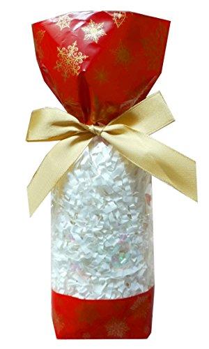 53 x klar Zellophan Block Boden Party süß Süßigkeiten behandeln Taschen (klein - 56x37x220mm) - Rot und Gold Weihnachtsschneeflocken