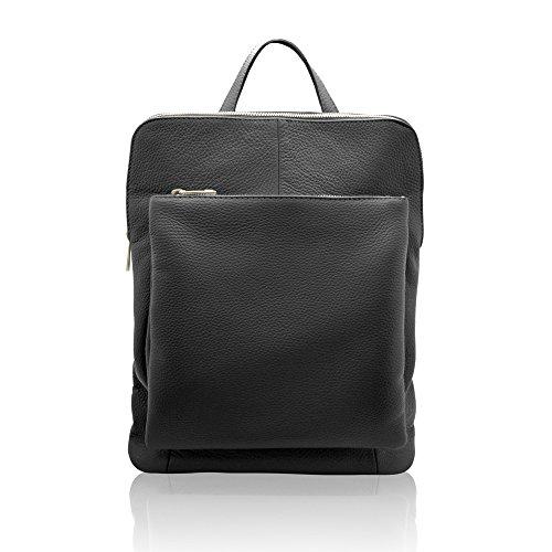 ERIC Sac portés dos cartable sac d'ordinateur avec convertible bretelles, cuir souple grainé, fabriqué en Italie noir