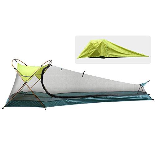 Tenda campeggio valle del rhino, tenda da campeggio 1 posto con paleria in alluminio, montaggio veloce, impermeabile, ultraleggera, tenda campeggio per escursionismo, viaggio camping spiaggia, verde