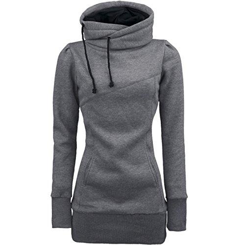 Vovotrade ❀❀Art- und Weisefrauen-lösen Pullover-Shirt-lange Hülsen-Bluse (EU Size:38(L), Grau)