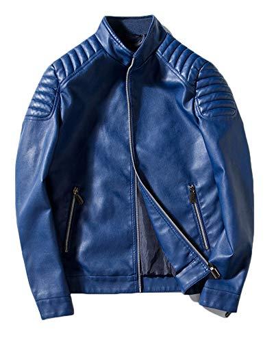 Runyue Hombre Chaqueta de Motociclista Manga Larga PU Cuero Bombardero Biker Chaquetas Azul M