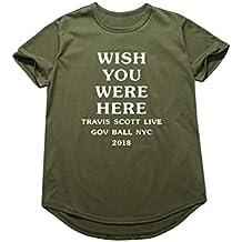 Yuandian Unisex Manica Corta Girocollo Arcuate-Orlo T-Shirt Lovers Hip-Hop Magliette Top con Astroworld/Wish You Were Here Stampa di Lettere