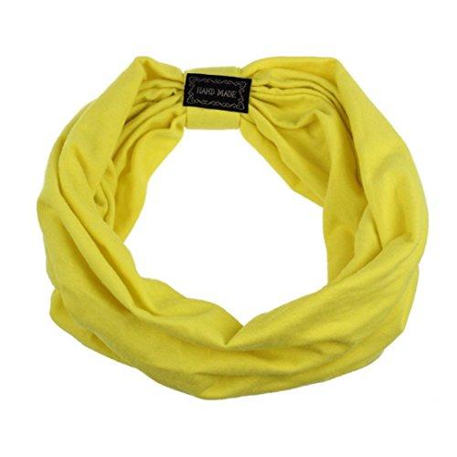 Transer Haarband, Kopfband, Stirnband, elastisch, breit, Leopardenprint, Kopfbedeckung Turban, Bandana, Schal, modisch, Party, gelb (Leopard Green)