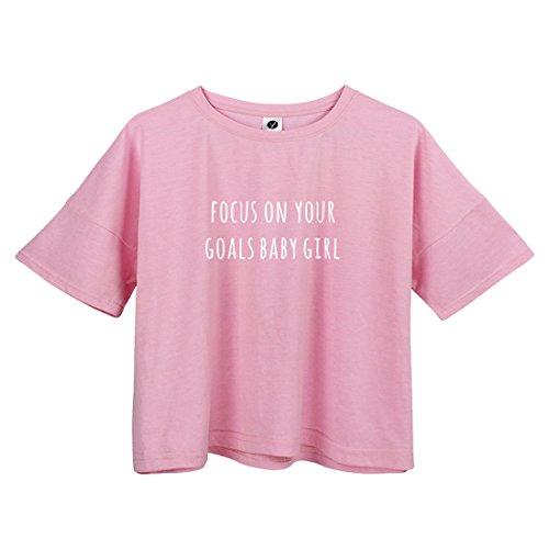 BLACKMYTH Donna Casual Lose Raccolto Maglietta Manica Corta Niedlich Drucken T-Shirt Rosa