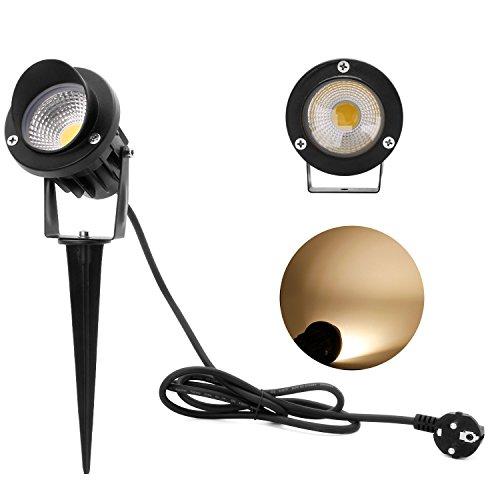 Kefflum 5W LED Gartenleuchte Scheinwerfer,230V,3000k Warmweiß,450lm,mit Stecker Erdspieß,Rasen Licht,GUMMI 1,5m Kabel,IP65,LED Lawn Licht, Spotbeleuchtung,Bodenleuchte,Teichstrahler [Energieklasse A++]