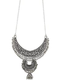 Andaaz Necklace Boho Tribal Style Oxidized Silver Pendant Trendy Necklace For Girls And Women