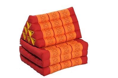 Thaikissen SET: 2 x 170x50 + 2 x Kissen 45x28 + 2 x Nackenrolle, rot-orange, Kapokfüllung