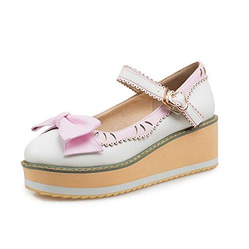 VogueZone009 Damen Schnalle Rund Zehe Mittler Absatz Pu Leder Gemischte  Farbe Pumps Schuhe Weiß