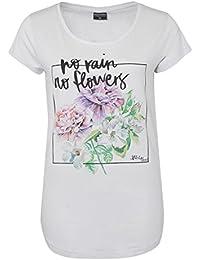 Stitch & Soul Damen T-Shirt mit buntem Blumen Print | Elegantes Shirt mit floralem Aufdruck