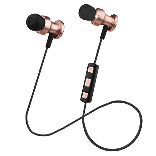 OneOdio Bluetooth Kopfhörer In-Ear Ohrhörer Stereo mit Mikrofon, Magnetisch Wireless Sport Headset für Smartphone Handy iPhone 7 6S 6 Plus 5S 5 5C 4S iPad Pro Air 2 Android Galaxy S8 S7 S6 Edge S5 S4 Mini Schweißresistent (Rosa / Gold)