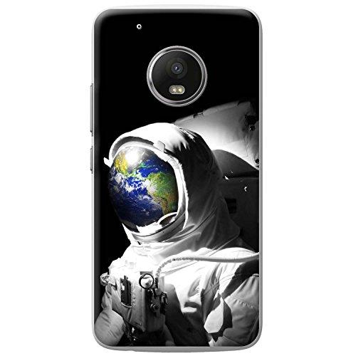 Astronautenanzug & Spiegelbild der Erde Hartschalenhülle Telefonhülle zum Aufstecken für Motorola Moto G5 Play