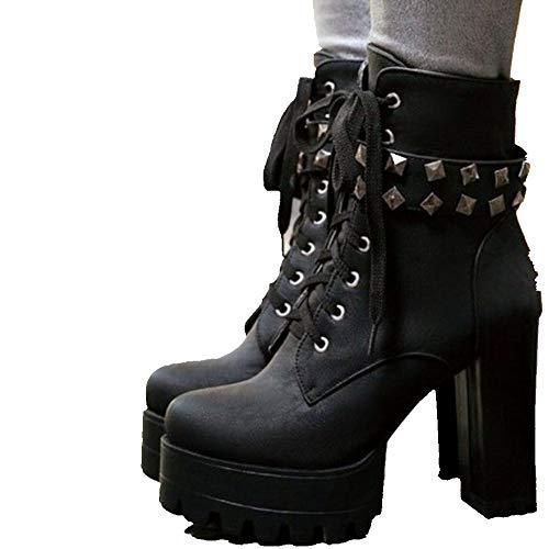 DoraTasia Damenmode Chunky High Heel Rivet Band schn¨¹Ren Sich Rei?Verschluss Plattform Ankle Boots -