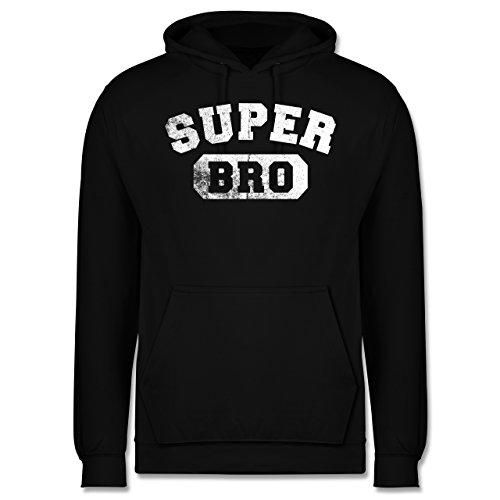 Bruder & Onkel - Super Bro - Vintage-&Collegestil - Herren Hoodie Schwarz