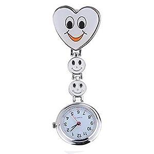 Neue Mädchen Süßes Lächeln Uhr mit Herz-Anhänger Krankenschwester Uhr Schwester Taschenuhr schönes Geschenk Weiß