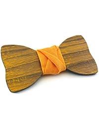 GIGETTO Papillon in legno fatto a mano con nodo in lino giallo. Farfallino accessori moda matrimonio cerimonia. Cinturino regolabile in stoffa.