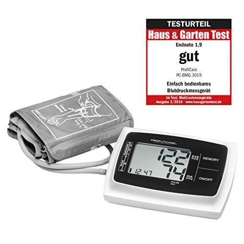 9 Oberarm Blutdruckmessgerät, vollautomatische Blutdruck-und Pulsmessung, großes LCD-Display und Bedientasten, 3-Werte-Anzeige, 2x60 Speicherplätze, inkl. Aufbewahrungstasche ()
