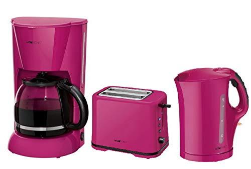 Clatronic Frühstücks-Set Frühstücksset Kaffeemaschine ✔ Toaster ✔ Wasserkocher ✔ brombeer -