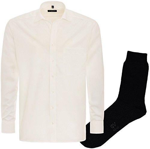 ETERNA Herrenhemd Comfort Fit, beige, Chambray, regulär langarm + 1 Paar hochwertige Socken, Bundle Beige