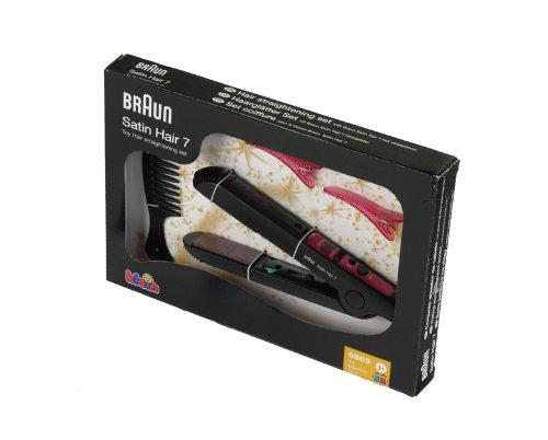Theo Klein 5869 - Braun Satin Hair 7 Piastra Per Capelli Con Specchio, Pettine E 2 Mollette