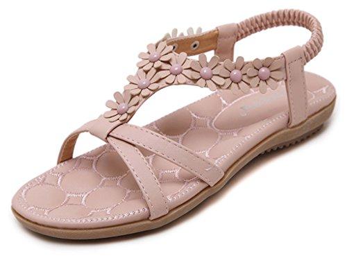 Minetom Femmes Plat Sandales Bohème Perles Fleur Ouvrez l'orteil Sandales Plage Voyage Chaussures