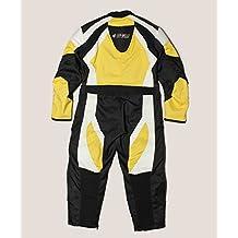 KENROD Mono completo de motos para niños. 100% piel. Color negro/blanco/amarillo. Talla 12