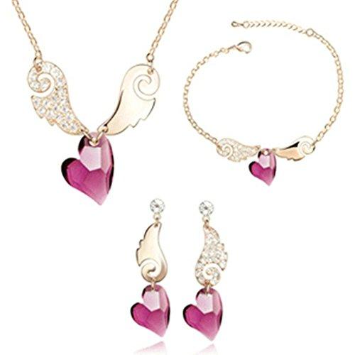 Aooaz Femmes Alliage Bijoux Parures Aile Boucles d'oreilles Bracelet Collier Mariage Or Rose Pourpre