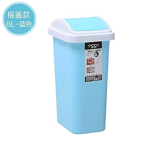 Küchen-Abfalleimer fuckluy Das Büro der WC-Papier kleine Papierkorb WC Im Wohnzimmer gibt es eine Abdeckung Haushalt B)-8L Ventildeckel, Blau
