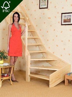 Oman Raumspartreppe gewendelt 80 x 280 Holz