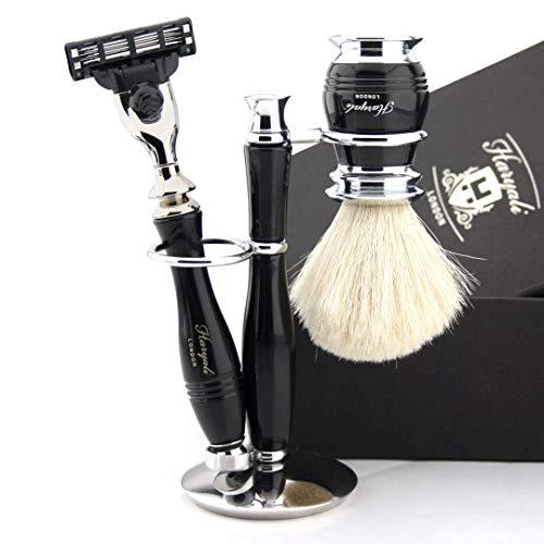 Klassisches neu gestaltetes Rasierset Gillette Mach3 Kompatibel Rasiermesser Luxus Griff & Reinweiß Dachs Pinsel + Ständer | Komplettes Nassrasierset für Herren