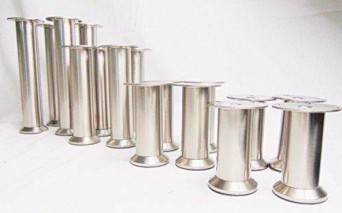 4x GedoTec Möbelfüße Möbelfuss Verstellfuß Edelstahl Finish verstellbar | Markenqualität | (200 mm)
