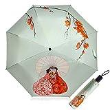 Ombrelle Anti UV Femme Parapluies pliants Imprimé en 3D Parapluies Pliables tripes Preuve d'UV Colle d'argent UPF 50+ 190T 8 os Parasols Été De Plein air Preuve de Vent Parasol Dames (Beige)