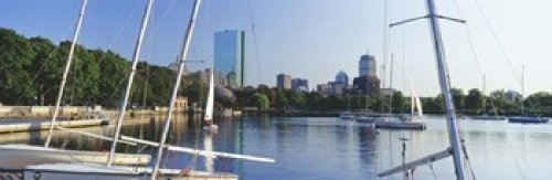 Panoramic Images - Sailboats in a river with city in the background Charles River Back Bay Boston Suffolk County Massachusetts USA Photo Print (91,44 x 30,48 cm) - Suffolk Bay