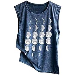 LuckyGirls Remera Chaleco Mujer Camisetas de Sin Manga Estampado de la Forma de la Luna T-Shirt Casual Verano Sencillos Blusa Deporte Tank Top Vest (XXL,Azul Marino)