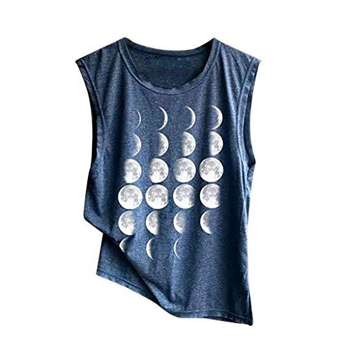 (CixNy Damen T Shirts, Kurzarm Camisole Trägershirts Sommer Shoulder Ärmellos Drucken Muster Crop Vest Cami Spaghetti Weste Oberteil Tops (E-Marine, Small))