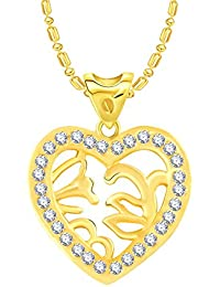 VK Jewels Leafs In Heart Gold And Rhodium Plated Alloy CZ American Diamond Pendant With Chain For Women [VKP2700G]