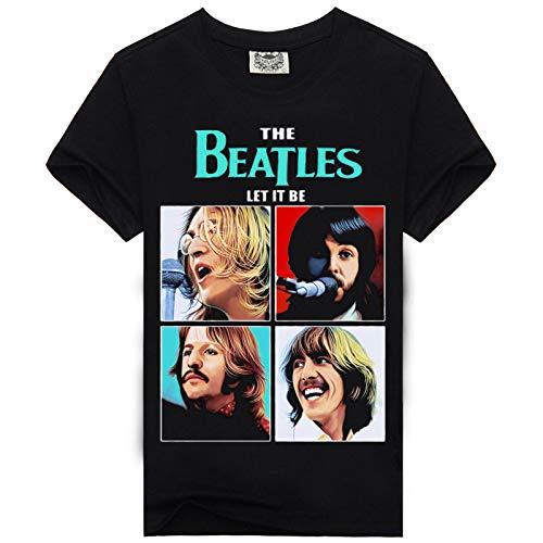 JJZHY The Beatles Band Bedrucktes, Schlichtes T-Shirt aus Baumwolle Schwarzes Unisex,Schwarz,XL (Beatles Bedruckte T-shirts)
