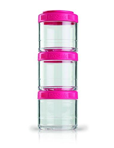 BlenderBottle GoStak Container zum Aufbewahren von Protein| Eiweiß| Pulver| Vitaminen & mehr- 3Pak 100ml pink (3x100ml) (Blender Reisen)