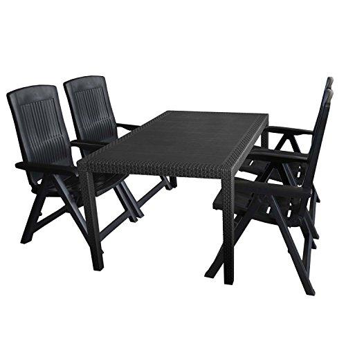 5tlg. Gartengarnitur Kunststoff Tisch Rattan Optik 150x90cm + 4x Klappstuhl 5-fach verstellbar Anthrazit Balkonmöbel Set Sitzgarnitur Terrassenmöbel